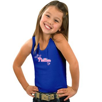 Philadelphia Phillies Youth Girls Pretty in Pink Sparkles with Sequins Tank Top - Royal Blue - http://www.shareasale.com/m-pr.cfm?merchantID=7124&userID=1042934&productID=525380620 / Philadelphia Phillies