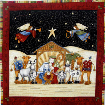 Advent Calendar  Whimsical Nativity CIJ Quilted Wall Hanging  Heirloom Keepsake