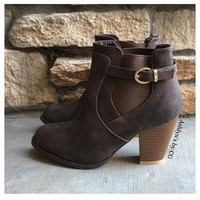 """""""Style and Flare"""" Always Faithful Buckle Strap Brown Heel Bootie Boots"""