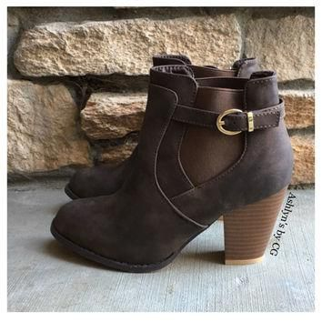 """Style and Flare"" Always Faithful Buckle Strap Brown Heel Bootie Boots"