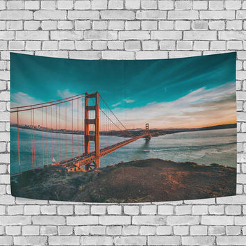 Sunset Beautiful Golden Gate Bridge Tapestry Landmark Landscape Wall Hanging Art for Couches Dorm Room Home Decor