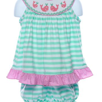 Three Sisters Baby Girl's Smocked Whale Bloomer Set