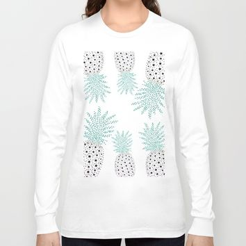 Pineapple Pattern Long Sleeve T-shirt by ES Creative Designs