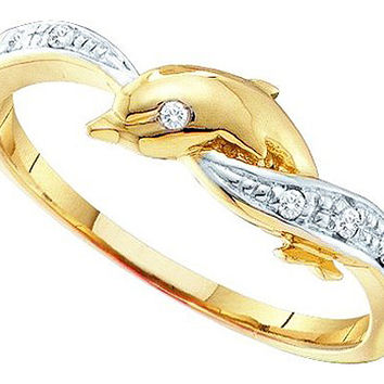 Diamond Dolphin Ring in 10k Gold 0.04 ctw