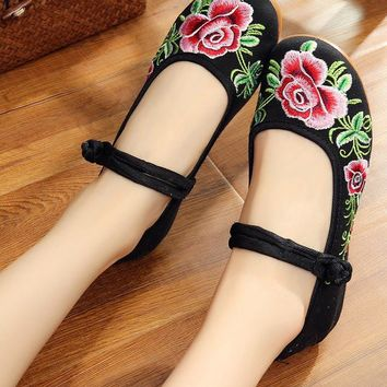 Chinese Peony Embroidery Asakuchi Flower Toe Ring Band Flats Shoes CK00525 Black Shoes