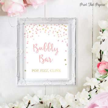 Bridal Shower Bubbly Bar Sign - Pink Bridal Shower Printable Signs - Bridal Bubbly Sign - Wedding Champagne Sign - Pink and Gold Hearts