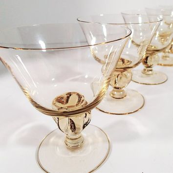 Swedish Astrid Yellow Low Sherbet, 5 lobe hand blown crystal stemware, Vintage Mid Century barware