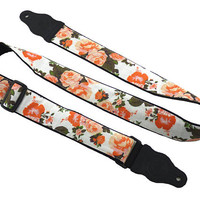 Roses guitar strap. Orange English roses. Girly guitar strap for all types of guitars. Adjustable, well padded and  light weight.
