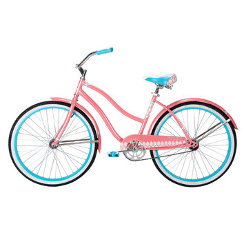 Ladies 26-inch Beach Cruiser Bike in Pink White and Teal Blue
