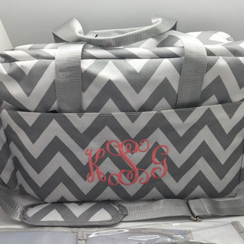 Diaper bag monogram personalized chevron roomy grey gray baby boy girl name personalized girl gift