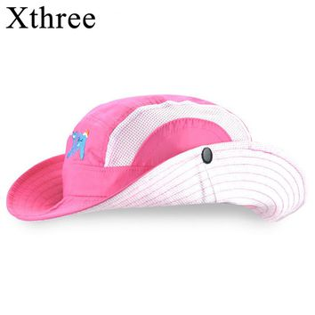 Xthree  New girls summer hat child bucket hat  kids cap baby boy cowboy hat casquette garcon