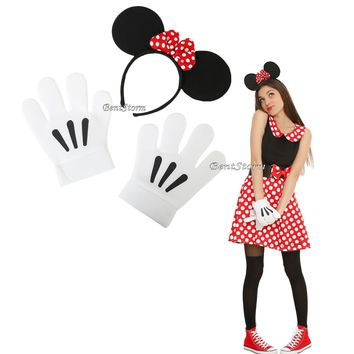 Licensed cool Disney Minnie Mouse Headband with Ears & plush white gloves Cosplay Costume Kit