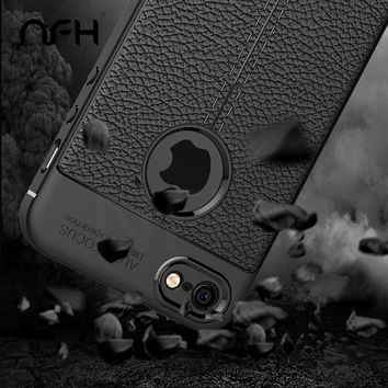 Retro Back Litchi Leather Skin Soft Silicon Cases For iPhone 5 5S 6 6S 6Plus 7 Case Full Cover Cases For iPhone On 5 SE Shell
