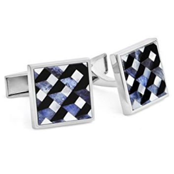 Ike Behar Men's Mother Of Pearl and Onyx Stone Cufflinks, Blue/Black, One Size