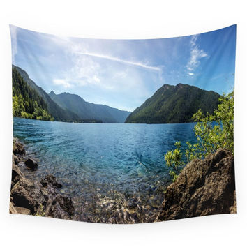 Society6 Lake Crescent Olympic Mountain Pano Wall Tapestry