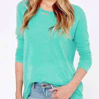 Crew Neck Long Sleeves Top with Back Zip Fastening