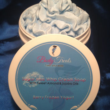 Premium Whipped Cream Soap - Berry Frozen Yogurt  - Shaving Cream - 11 oz (Vegan) SLS and Parben Free - Luxurious Creamy Lather