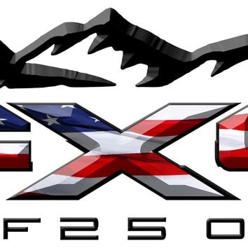 FX4 F250 Mountains American Flag 3D Vinyl Decal Fits All Makes and Models