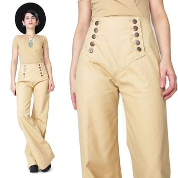 1970s Chemin De Fer Pants Vintage Sailor Pants Tan Khaki Cotton Pants Wide Leg Pants Vintage Bell Bottoms NOS Womens High Waist Pants (M/L)