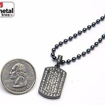 Jewelry Kay style Men's Bling Iced Out Dog Tag Pendant Hematite Ball Chain Necklace Set MMP 807 HE