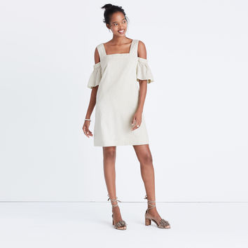 Striped Cold-Shoulder Dress : shopmadewell day-to-night dresses | Madewell