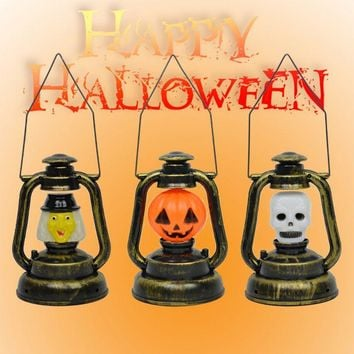 Portable Halloween Skull Witch Lamp Lantern Pumpkin Ghost Night Light Props Supplies Home Party Decor Luminous Retro Lantern