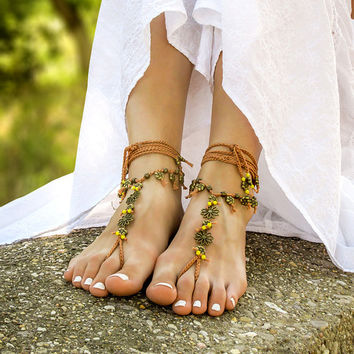 Boho barefoot sandals Beach wedding barefoot sandals Gypsy bottomless sandals Yoga foot jewelry Hippie footless sandles Bohemian anklets
