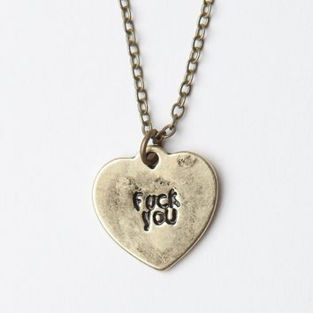 FUCK YOU HEART GOLD NECKLACE
