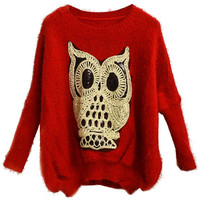 "ROMWE | ""Twinking Owl"" Red Jumper, The Latest Street Fashion"