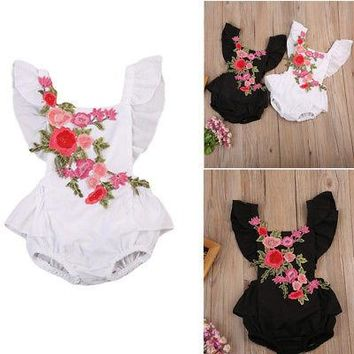 Cute Infant Baby Girl Clothing Rose Print Bodysuits Tops Back Cross Sleeveless Cute Clothes Baby Girls Kids Jumpsuit