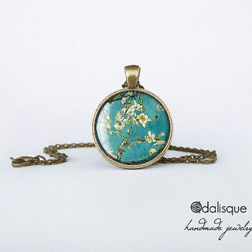 Handmade Magnolia Tree Glass Pendant Bronze Vincent Van Gogh Art Round Circle Turquoise Necklace Jewelry Birthday Gift Mother's Day 1 inch