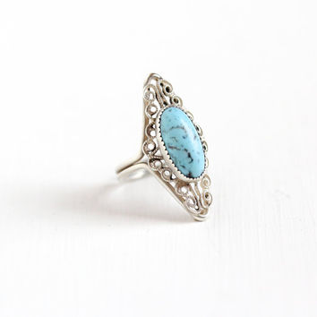 Vintage Sterling Silver Simulated Turquoise Ring - Retro Filigree Hallmarked Beau Adjustable Marbled Blue Glass Stone Navette Jewelry
