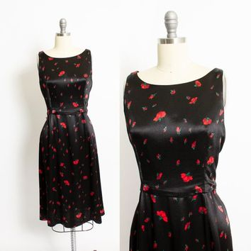 Vintage Betsey Johnson Dress - 1990s Poppy Floral Black Satin Sleeveless Day Dress 90s - Medium M