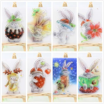 1sheet Cute Rabbit Transparent Clear Silicone Stamps for DIY Scrapbooking Card Making Kids Crafts Fun Decoration Supplies