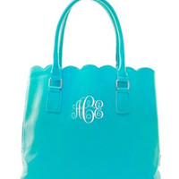 Monogrammed Scalloped Tote Purse  Monogrammed Handbag Marley Lilly Style