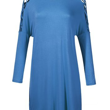 LE3NO Womens Soft Round Neck Criss Cross Long Sleeve Tunic Top with Stretch