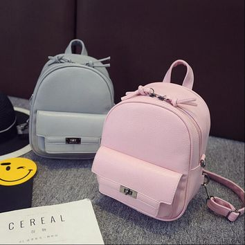 COOL WALKER Women Backpack For Teens Girls Preppy Style Solid fashion Girls School Bags for Girls PU Leather Women Backpack