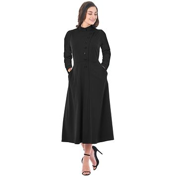 Black Side Button Mandarin Collar A-line Midi Dress