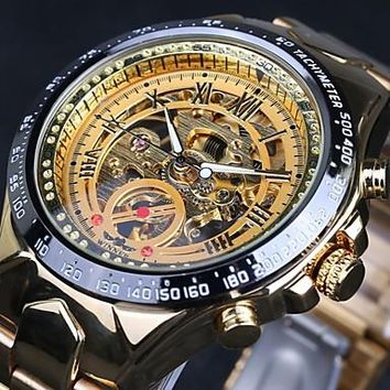 WINNER® Men's Automatic self-winding Tachymeter Vintage Mechanical Water Resistant / Water Proof Luminous Hollow Skeleton Stainless Steel Wrist Watch