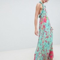 ASOS DESIGN Pleated Maxi Dress With Ruffle Open Back In Vintage Floral at asos.com