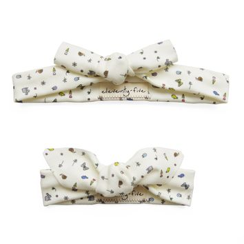 Set of Two Springtime Organic Stretch Knit Head Tie For Mom & Baby
