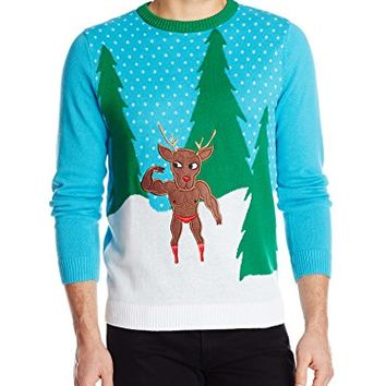 Alex Stevens Men's Does Your Reindeer Even Lift Bro Ugly Christmas Sweater, Turquoise Combo, Medium - Christmas