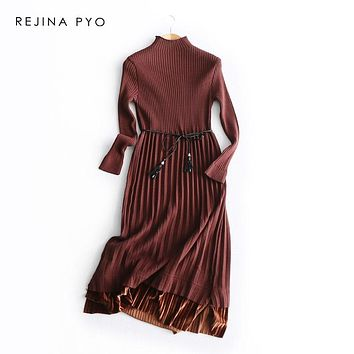 REJINAPYO Women Elegant Half Turtleneck Knit Mid-calf Length Pleated Dress High Waist with Sashes One Size High Quality Vestidos
