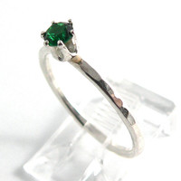Emerald Sterling Silver Stacking Ring