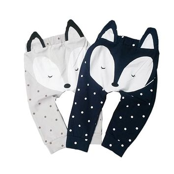 Spring Autumn Cute Baby Harem Pants Sport Loose Trousers Baby Boys Girls Fox Bottom Harem Pants Leggings Pants Trousers 0-24M