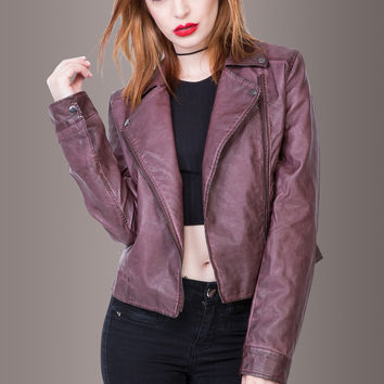 Midnight Stroll Purple Vegan Leather Biker Jacket