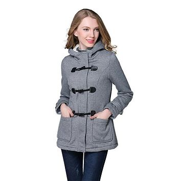 2017 Spring Autumn Women Slim fit Wool blended Mid Long Coat Thin Jacket Hooded Outwears Zipper Hoodie Overcoats Plus Size 6XL