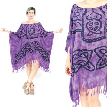 Tribal Print Caftan Dress Slouchy Summer Kaftan Dress Purple Batik Tie Dye Dress Oversize Draped Muu Muu Draped Fringe Beach Dress (L/XL)