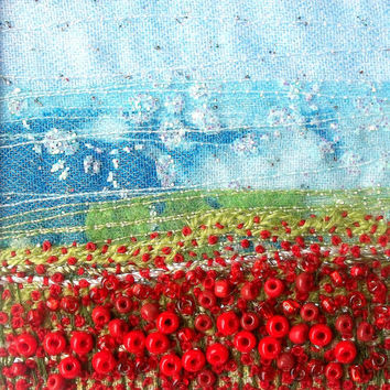Embroidered poppy landscape - Handmade card - Beaded fabric - 5 inch square card