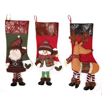 Christmas Stocking Plaid Santa Claus Sock Gift Bag Kids Xmas Noel Decoration Candy Bag Bauble Christmas Tree Ornaments Supplies